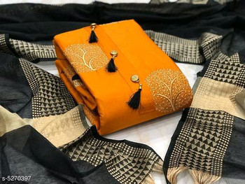 New 2021 Unstitched Pure Glace Cotton Dark Yellow Top with Bottom and Dupatta