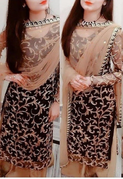Presenting 2021 New Design Party Wear Black Top - Palazzo with Dupatta