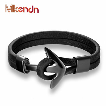 MKENDN FASHION Man Vintage Leather Bracelet Stainless Steel Wristband Anchor Bracelet Punk Rock Men Jewelry Accessories Pulseras