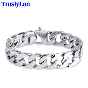 TrustyLan Glossy 316L Stainless Steel Link Chain Bracelet Men 15MM Wide Men's Bracelets & Bangles Handle Fashion Male Jewelry