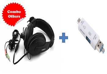 Frontech Multimedia Headphone + Mic HF-0750 With 3 in 1 Card Reader Smart OTG