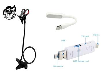 360 Rotating Flexible Phone Holder + 3 in 1 Smart OTG + USB LED Light Lamp Combo