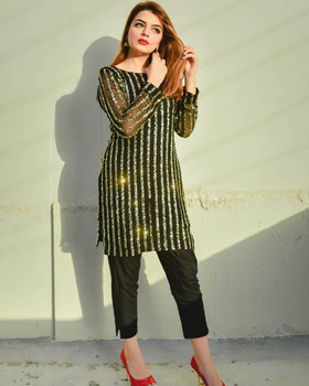 New 2021 Presenting Fully Sequence Work Georgette Top With Beautiful Butter Silk Pant-Size-XXL