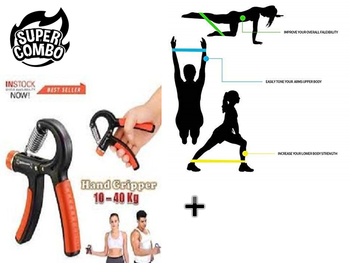 H-W06 Hand Grip With Latex Band Resistance Band Special Combo Offer