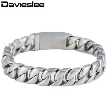 Davieslee Mens Bracelet Chain 316L Stainless Steel Silver Tone Round Curb Cuban Link Wholesale Vintage Punk Jewelry 11mm LHB162