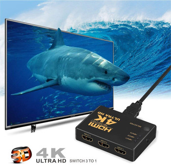 Protokart 4K Ultra HD 3D 3 Port HDMI Splitter Switch Hub HDTV Video with Remote Control Supports HDCP