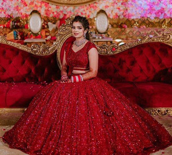 New 2021 Beautiful Designer Wedding Wear Chine Sequence Work Lehenga Choli With Dupatta-Choli-Red-Size-44