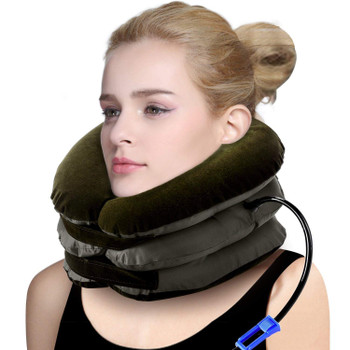 Cervical Traction 3 Layer Neck Traction Device Effective and Fast Relief Neck Pain Inflatable Neck Stretcher Collar Device for Men and Women