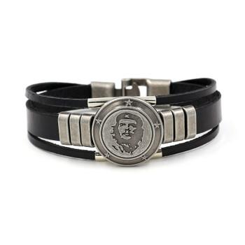 HOMOD New Genuine Leather Bracelet for Women Mens Bracelets Punk Che Guevara Charm Cuff Bracelets Bangles Men Jewelry