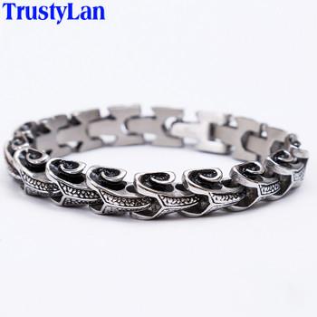 TrustyLan Cool Stainless Steel Dragon Grain Bracelets Men New Arrival Punk Rock Keel Mens Bracelets & Bangles For Man Jewelry