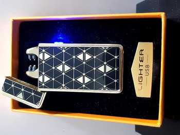 USB Classic Lighter Fashionable Square Pattern