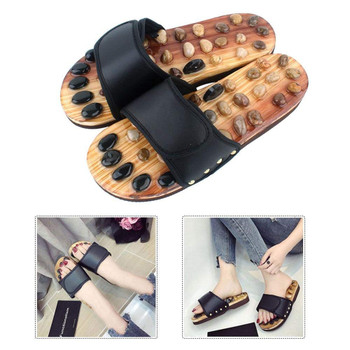 Fitness Massage Slippers Acupuncture Points Foot Massager Slippers Arch Pain Massage Adult Shoes Pebbles Agate Stone Acupressure Wooden Shoe Men Women