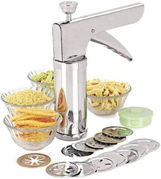 Action Ware King Kitchen Press Stainless Steel Kitchen Press with 15 Different Types of Jalies, Murukku Maker/Bhujiya Maker/Noodles/Cookies/Namkeen/Chakali Maker/Sev Maker/Farsan Maker/Gathiya Maker (Silver)