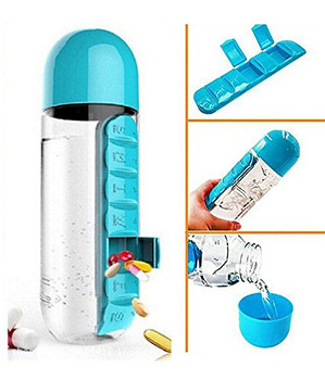 2 in 1 Pill & Vitamin Organizer-600ml Water Bottle & Medicine/Vitamin Compartment(Color May Vary)