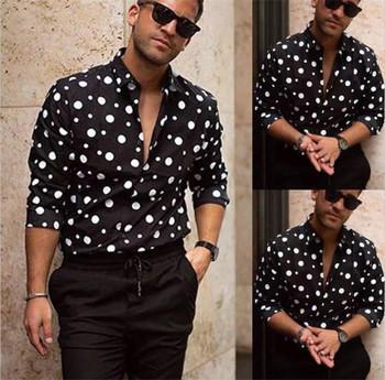 Polka Dot Mens Designer Shirt Autumn Long Sleeve Casual Mens Dress Shirts Hot Style Homme Clothing