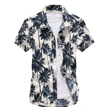 Fashion Summer Short Sleeve Floral Print Mens Beach Shirts Casual Males Clothing 3D Digital Print Mens Casual Shirts