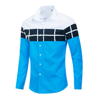 Casual Tops Summer Fashion Breathable Mens Clothing Striped Patchwork Men Designer Shirts Lapel Neck Long Sleeve Mens