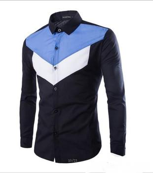 2016 Spring and Autumn new men's long-sleeved shirts geometric spell color shirt men Korean Men's Shirts Slim Fit Dress shirt