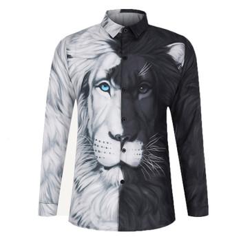 Men's Shirts Hawaiian Long Mouwen Lion Print Gentlemen Formula Camisa Social Masculina Casual Slim Fit Tops