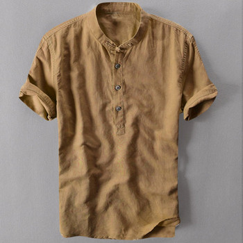 Men's Shirts Men Cato Linen Fashion Casual Effen Color Vintage Man V-ne Trui Short Mouw Tops Soft Tea Shirt Chemistry