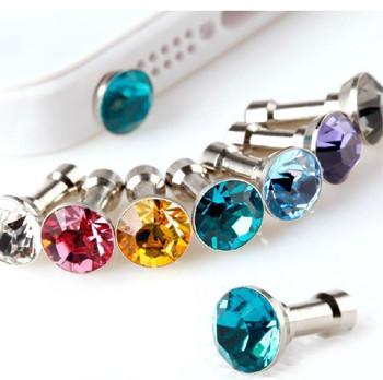 10pcs/lot Colorful Diamond Rhinestone Dust Plug Earphone Plug For iPhone 4 4s 5 5s 6 6s/Samsung/iPad Mobile Phone Accessories