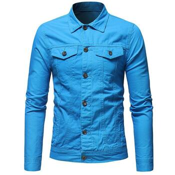 Laperl Neck Long Sleeve Solid Color Homme Coats Fashion Procket Male Clothing Men Autumn Designer Denim Jacket