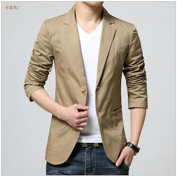 Jacket Lapel Neck Long Sleeve Solid Color Homme Coats Fashion Single Breasted Male Clothing Mens Spring Designer