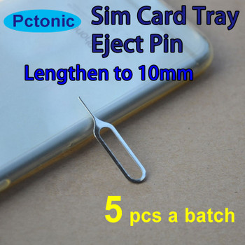 PCTONIC 5pcs Sim Card Tray Eject needle Tool Pin sim card pin Lengthen longer to 10mm for smart mobile phone for iphone samsung