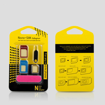Universal 5 In 1 Mobile Phone Nano SIM Card For Iphone For Android Micro Standard SIM Card Adapter SIM Card Tool Set Eject Pin