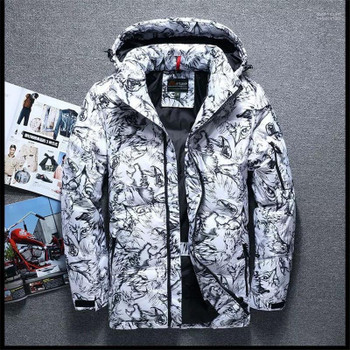 Thick Zipper Pockets Mens Hooded Outerwears Casual Panelled Males Clothing Camouflage Print Mens Designer Parkas Fashion