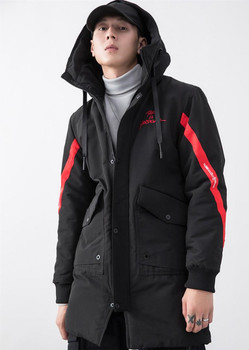 Long Sleeve Casual Clothes Designer Embroidery Mens Parkas Fashion Striped Panelled Thick Winter Jacket Big Pocket