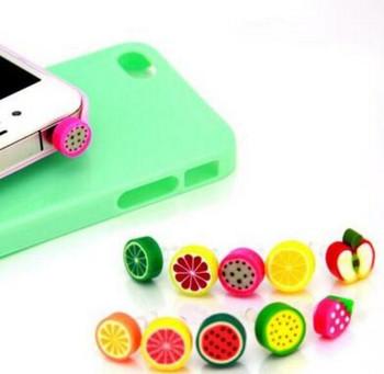 Universal Earphone Headphone Fruit Dust Plug Dust Cap For Iphone Samsung 3.5mm Mobile Phone Accessory