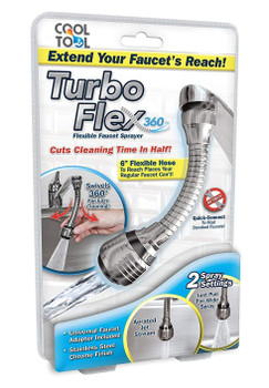 Turbo Flex 360°Flexible Stainless Steel Chrome Finish Faucet Sprayer for Easy Clean Sink, Bathroom, Rinsing Fruits, Etc
