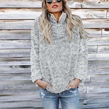 Long Sleeved Sweater Autumn Winter Warm Sports Casual Tops Women's Solid Color Fashion Jacket Cap Solid r PlushL