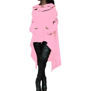 Solid Color Ladies Hoodies Plus Size Designer Pullovers Irregular Long Womens Hoodies Autumn Loose Long Sleeve Hooded