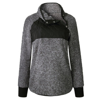 Fashion Women Flannel Patchwork Long Sleeve Pullover Autumn Winter Turtleneck Zipper decoration Sweatshirt Tops Plus Size1