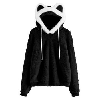 Hoodie Women's Pullover Fuzzy Fleece Sweatshirt Winter Cute Ear Long Sleeve Causal Hoodie Top New