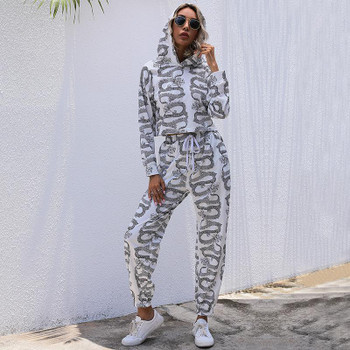 Casual Chinese Style Printed Hoodie Suit Female 2021 Spring New Europe and America Cross Border Womens Clothing