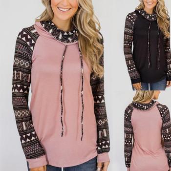 Ladies winter autumn long sleeve pullover woman sweatshirt new style patchwork turtleneck casual loose female sweatshirt