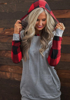 Long Sleeve Female Clothing Solid Color Casual Apparel Plaid Print Women Autumn Designer Hoodiea Pullover Fashion Style