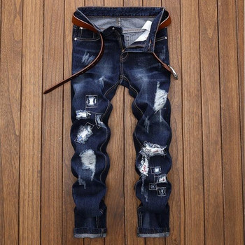 Ripped Holes Embroidery Cotton Men Jeans Autumn Scratched Hip Hop Black Male Denim Pants Slim Streetwear Blue Trousers