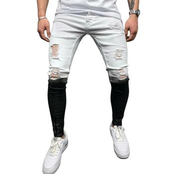 Jeans Men ny Troubled Random colouring block Straight fit Wash destroyed Denim Black White Gradient Potlead Broek