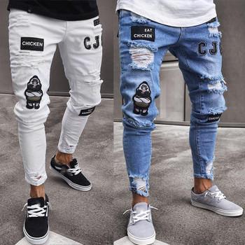 Ripped Holes Hiphop Jeans for Mens Clothing Draped Badge Designer Slim Fit Denim Pants Mens Designer Jeans