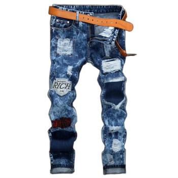 Hip Hop Cotton Denim Jeans Men Autumn Ripped Holes Streetwear Blue Male Pants Soft Badge Harajuku Scratched Trousers