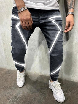 Luminescent Men's Jeans Spring and Summer Personality Reflective Hip Hop High Street Pants Large Loose
