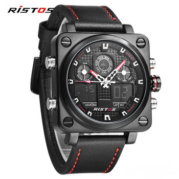 Chronograph Men Multifunction Sports Watches army Military Leather Digital Analog Fashion Wristwatch square dial backlight quartz clock
