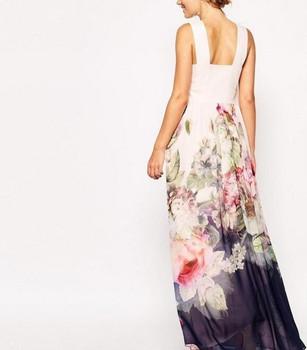 2017 Summer Floral Print Maxi Dresses Womens Beach Club Casual Loose Chiffon Sleeveless O Neck Long Plus Size Fashion Boho Clothes