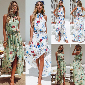 Fashion summer dress women sexy halter irregular boho floral printed bohemian maxi dress 2018 new beach holiday seaside backless sun dress