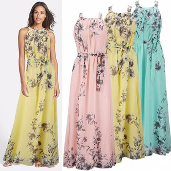 Summer Style Floral Print Summer Beach Bohemian Bridesmaid Dresses Mixed Chiffon long dress plus size S-6XL Honor Sexy Boho Party Gowns