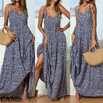 Party Long 210507 Floral Flower Print Maxi Dress Elegant Sleeveless Summer Holiday Vacation Sundress Evening Women Boho Beach